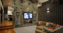 sagars road dural living room interior tiles and brick wall design
